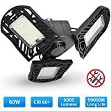 Electop LED Garage Lights, 6000LM Deformable Garage Ceiling Lights, 60W E26/E27 Basement Light Ultra-Bright Trilight Lamp Set with 3 Adjustable Panels, 6000K Daylight for Garage, Warehouse, Workshop