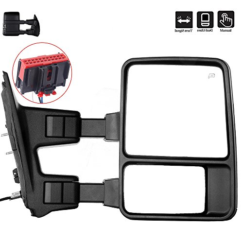 Towing Mirrors, ECCPP Right Passenger Side Exterior Automotive Mirrors with Manual Operation Turn Signal Convex Glass Manual Folding Telescoping for Ford F-250 F-350 F-450 F-550 Super Duty 2008-2016