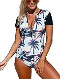 #6: Sidefeel Women Print Zip Front Half Sleeve One Piece Swimsuit