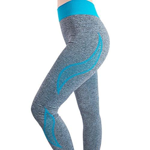 Roxzoom rendimiento Ropa activa, Pantalones Capri para Mujeres correr aptitud licra Leggings de entrenamiento - Azul, Medio