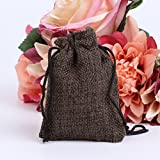 cici store 50Pcs Vintage Natural Jute Drawstring Pouch - Burlap Bags - Wedding Favor Gift Bag (coffee)