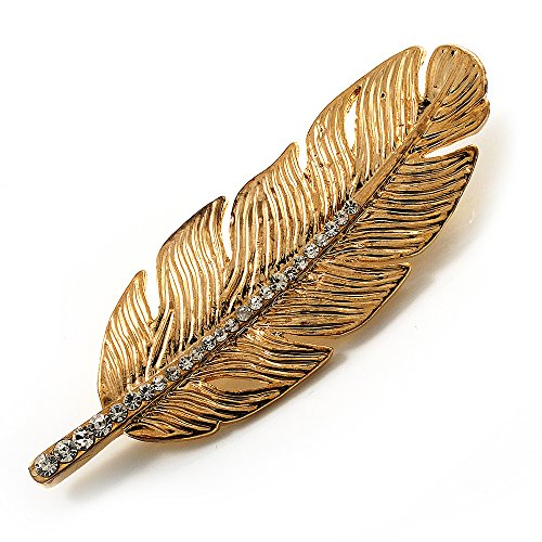 - Gold Tone Clear Crystal Feather Brooch