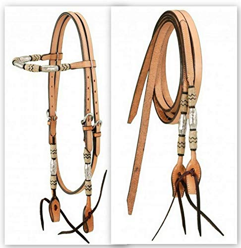 Tough-1 K Light Oil Leather Bridle with Braided Rawhide and Silver Barrels Horse Tack