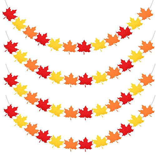 Gaudiwel [Pack of 4] Thanksgiving Felt Banner Decorations, 4 Strings 48 pcs Fall Leaves 3 Color Fall Decorations for Home Fall Decor Thanksgiving Decor Fall Decorations