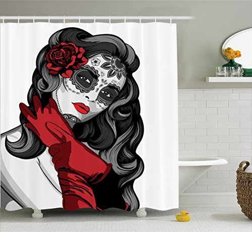 Ambesonne Skulls Decorations Collection, Sexy Sugar Skull Lady with Mexican Style Floral Mask Evil Gothic Dead Art, Polyester Fabric Bathroom Shower Curtain Set with Hooks, Grey White Black ()