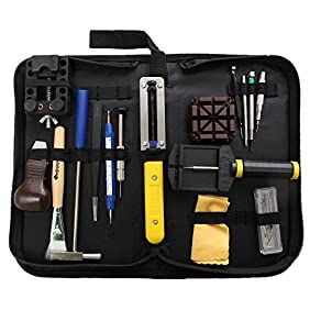 Baban 29Pcs Watch Tool Set Professional Watchmaker Repair Tool Kit with Black Carrying Case