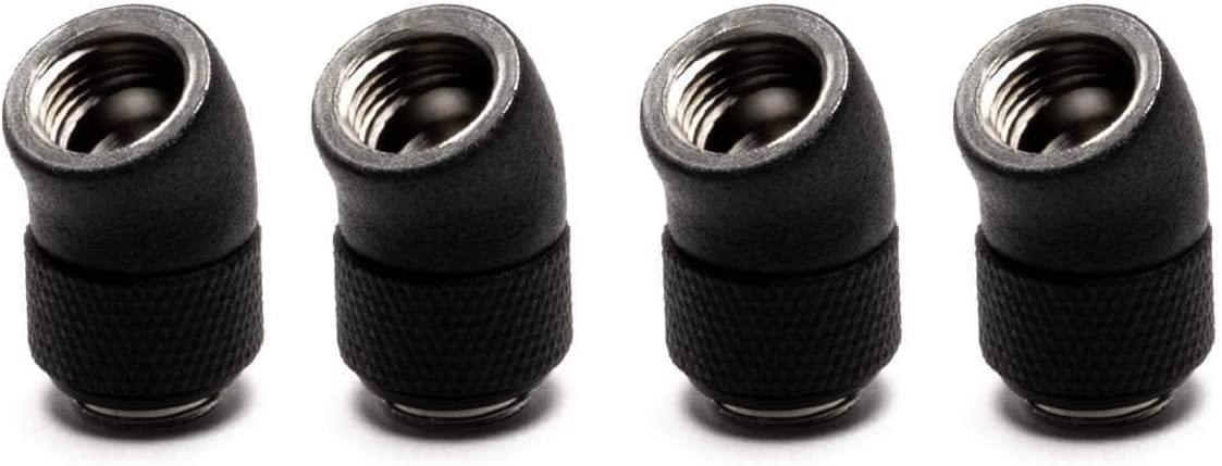 4 Pack PrimoChill Male to Female G1//4 30 Degree Rotary Elbow Fitting SX TX Matte Black