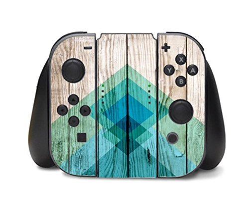 Aztec Tribal Art Chevron Design on Wood Background Blue Mint Green Print Image Nintendo Switch Controller Vinyl Decal Sticker Skin by Trendy Accessories