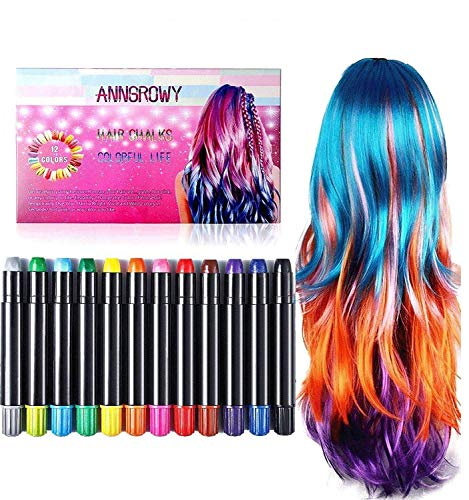 Hair Chalk for Girls Kids Face Paint Temporary Hair Chalks pens for Any Age(3+) Hair Color for Halloween Makeup Birthday Present Gifts for Girls Kids Hair Chalk Salon Washable Hair Dye for Halloween ()