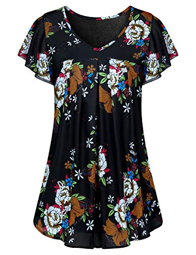 Misheep V Neck Tunic, Maternity Pintuck Shirt for Leggings Elegant Loosely Fit Work Tops Tier Short Sleeve Summer Chiffon Blouses Utility Black Yellow Floral Pattern Clothing L