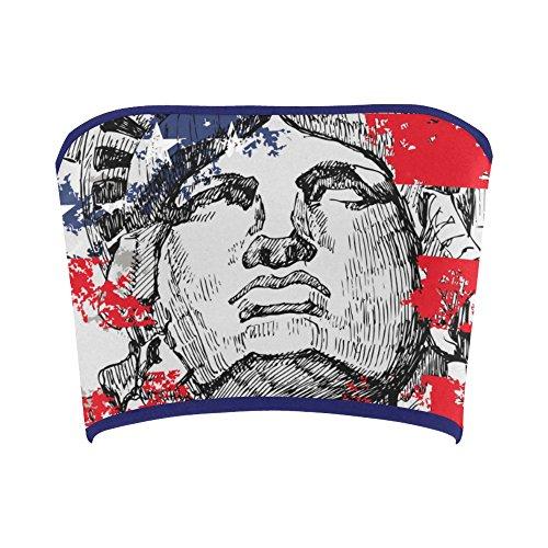 Women's Vintage Distressed American Flag Stars Stripes Tube Bra Bandeau Top - Flag Tube Top