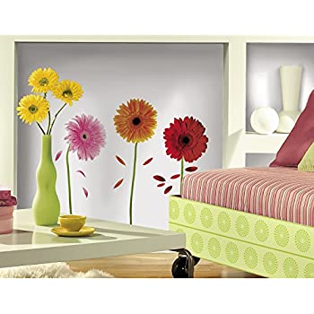 Amazoncom Kappier Big Bright Daisy Flowers Peel  Stick - Yellow flower wall decals
