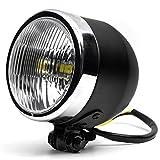 "Krator 4.25"" Mini Headlight w/ High Low Beam Lights LED Bulb Black w/ Chrome Housing for Kawasaki Mach 500 750 KH S3 Trial Boss"