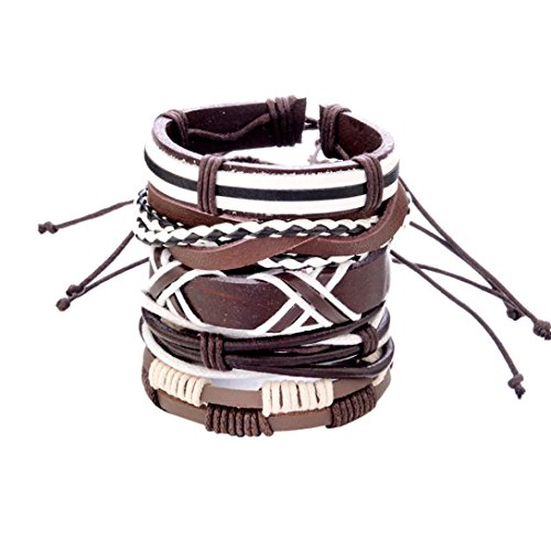 - Gyoume Men Women Bracelet Braided Leather Hand Chain Bracelet Cuff Bangle Bracelet Wristband Fashion Bracelet (A, Brown)