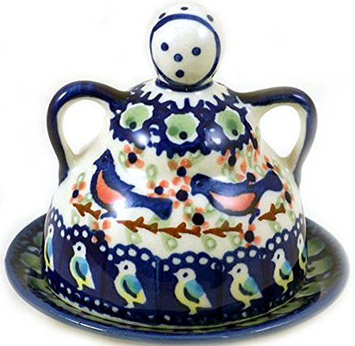 Polish Pottery Mini Cheese (Polish Pottery Lemon Lady or Mini Cheese Lady in Limited Edition Signature Pattern BB or Robin)