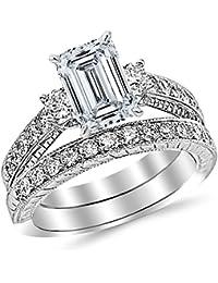 1.78 Ctw 14K White Gold GIA Certified Emerald Cut Three Stone Vintage With Milgrain & Filigree Bridal Set with Wedding Band & Diamond Engagement Ring, 0.75 Ct I-J VS1-VS2 Center