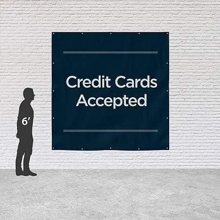 CGSignLab Basic Navy Heavy-Duty Outdoor Vinyl Banner Credit Cards Accepted 8x8