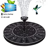 Solar Fountain ,Solar Fountain Pump for Bird Bath with Battery Backup, 10V 2W, Latest Solar Panel Kit Water Pump ,Water Fountain Pump with 4 Different Spray Pattern Heads for Pond, Pool, Garden, Fish
