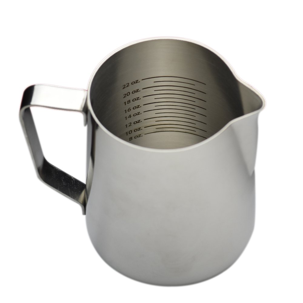 Large Creamer Pitcher and Milk Frother, Graduated Stainless Steel Pitcher for Coffee and Steamed Milk, Frothing Pitcher for Steaming Milk