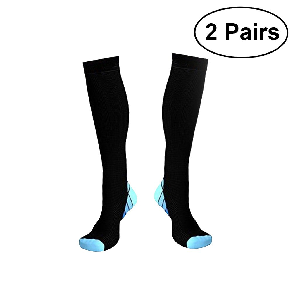 VORCOOL Calze a compressione sport corsa calzini per uomo e donna elastico 2coppie (blu), Blau