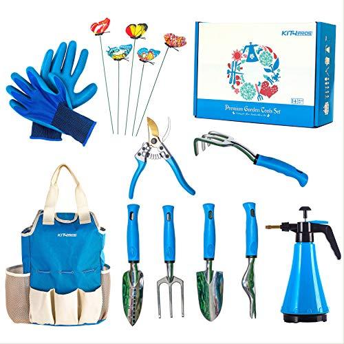 Kit4Pros Premium Garden Tools Set   Gardening Gifts for Women & Men   Heavy Duty Kit w/Ergonomic Handle   Weeder   Cultivator   Trowel   Storage Tote Bag Organizer   Pruning Shears & Gardener Gloves (Gardening Set Tools)