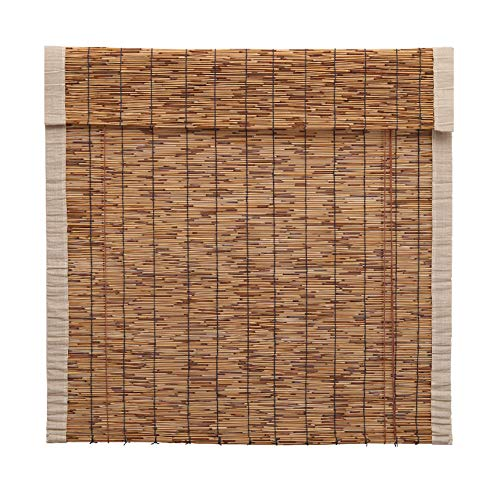 (YUANJJ Reed Curtain, Shade Bamboo Blinds, Vintage Curtain, Linen Edge, Suitable for Indoor and Outdoor, Two Colors, Multiple Sizes, Can Be Customized)
