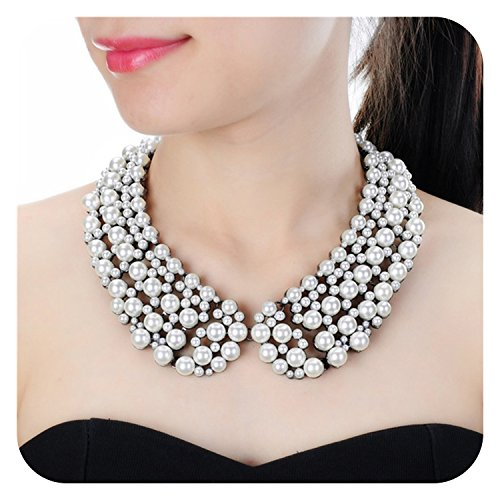 Holylove White Pearl Costume Statement Necklace for Women Fashion Necklace with Gift Box-N0007 Pearl -