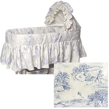 blue toile bassinet bedding liner burlington basket - Bassinet Bedding