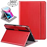 Ztotop iPad 9.7 Inch 2017/2018 Case,[360 Degree Rotating/Genuine Leather] with Auto Wake/Sleep,Pencil Holder,Hand Strap for New Apple iPad Education,iPad 9.7 2017,iPad Air 2,Red
