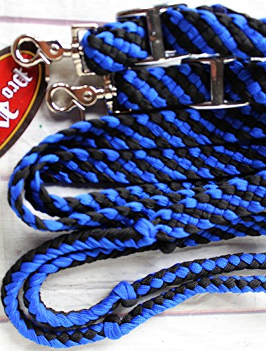 Roping Knotted Horse Tack Western Barrel Reins Nylon Braided 8FT BLUE BLK 607164