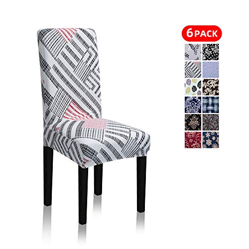 Stretch Jacquard Print Removable Washable Short Dining Chair Covers Seat Slipcover Furniture Protector for Hotel, Dining Room, Kitchen, Banquet Wedding Party (6 Per Set, Black-Strips-in-White Gd)