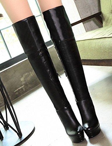 Aisun Womens Sexy Slim Chic Ronde Teen Inside Zip Up Dikke Hoge Hak Platform Over De Knie Hoge Laarzen Met Rits Zwart