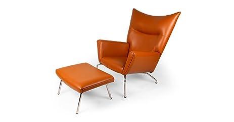 Kardiel Hans J Wegner Style Wing Chair Ottoman Caramel Aniline Leather