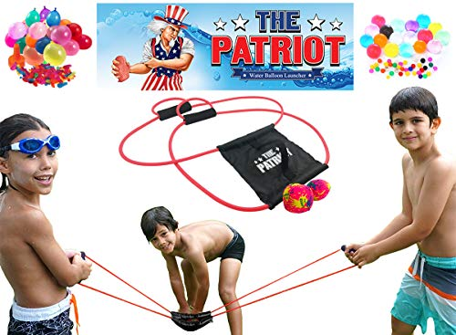 - The Patriot Water Balloon Launcher / 200 Yards Slingshot / Includes 2 Splash Balls, Quick Fill Nozzle, 50 Bio Balloons