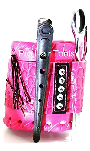 Salon Armor (Small/Med) Magnetic Leather Wristband In (PINK) for Hair Stylists, Barbers & Makeup Artists + FREE YS Park Chignon Clips ($13 value) by Salon Armor