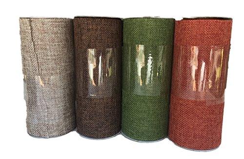 Dark Brown Light Brown Green and Orange Bundle of Four Fall Colored Burlap Ribbons