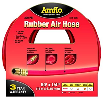 """Amflo 512-50E Red 300 PSI Rubber Air Hose 1/4"""" x 50' With 1/4"""" MNPT End Fittings"""