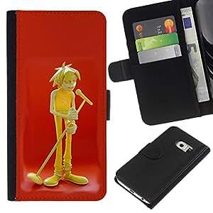 All Phone Most Case / Oferta Especial Cáscara Funda de cuero Monedero Cubierta de proteccion Caso / Wallet Case for Samsung Galaxy S6 EDGE // Music Microphone Art Boy Singer Drawing