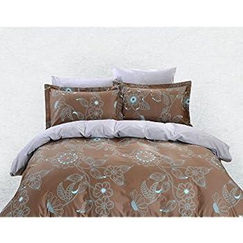 6 Piece 100/% Cotton Dolce Mela Bedding Queen Duvet Cover Set Chios DM632Q