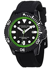 Stuhrling Original Men's 328R.335671 Aquadiver Regatta Atlantis Sport Divers Swiss Quartz Date Black Rubber Strap Watch