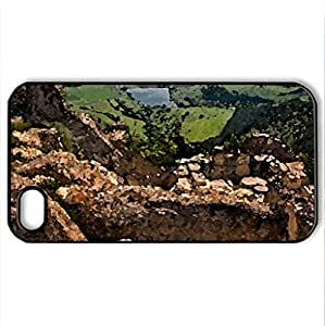 View fom Perperikon - Case Cover for iPhone 4 and 4s (Monuments Series, Watercolor style, Black)