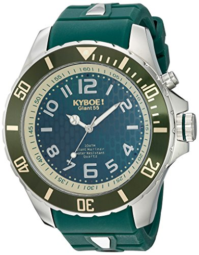 KYBOE! 'Power' Quartz Stainless Steel and Silicone Casual Watch, Color:Green (Model: KY.55-012.15)