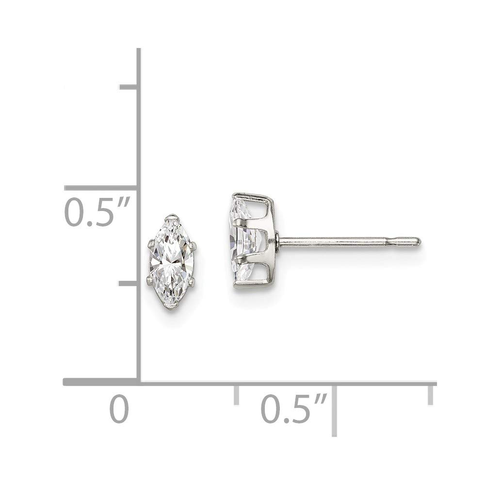 3mm x 6mm Solid 925 Sterling Silver 6x3 Marquise Stud Earrings
