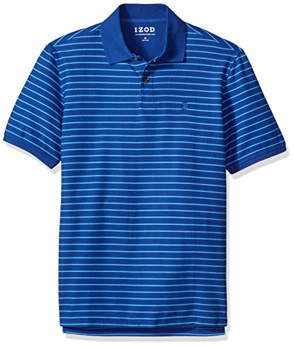 IZOD Men's Advantage Performance Solid Polo (Regular and Slim Fit), Mazarine Blue Striped, X-Large
