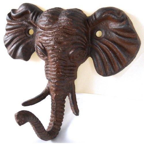 Upper Deck Antiqued Reproduction Cast Iron Elephant Head Single Hook Wall Decor (Towel Head Animal Hooks)