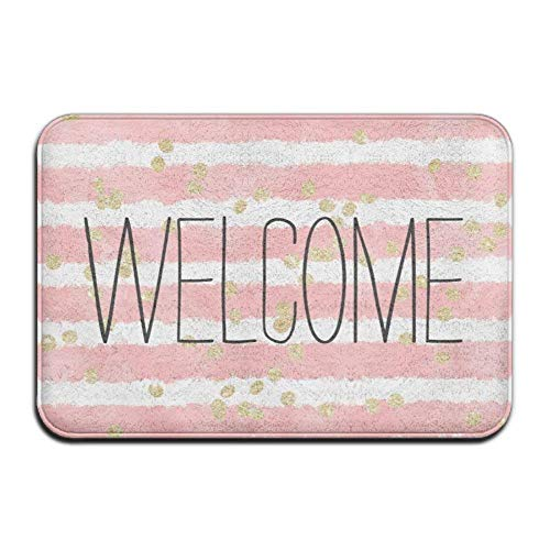 Non Slip Door Mat Outdoor,Trendy Blush Pink Watercolor Stripes Gold Confetti Super Absorbent Anti-Slip Mat,Funny Doormat,Indoor/Outdoor Decor Rug Doormat 23.6(L) X15.7(W) Inch Non-Slip Home Decor
