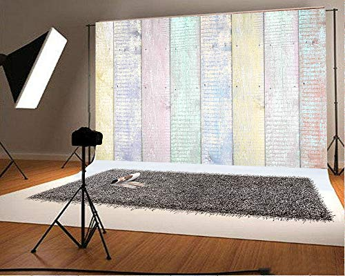7ft(W) x5ft(H)(220x150cm) Mother's Day Multicolor Wood Backdrop for Photography Baby Show Photo Booth Prop Easter Photo -
