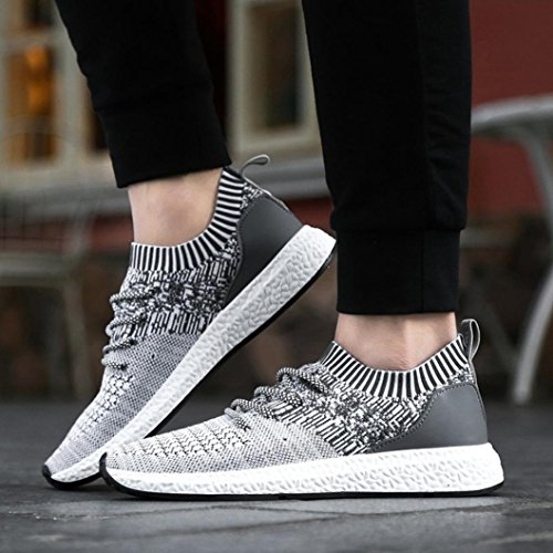 VEMOW Running Shoes for Men, Sneakers Trainers Lace-up Flats Flip Flops Thongs Espadrilles Wedge Sports Gym Outdoor Walking Air Hiking Workout, Cross Tied Breathable Mesh Gray