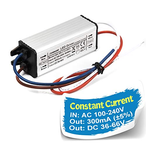 Chanzon LED Driver 300mA (Constant Current Output) 36V-66V (In100-240V AC-DC) (12-20)x1W 12W 15W 18W 20W IP67 Waterproof High Power Supply 300 mA Lighting Transformer Drivers for COB Chips (Aluminium)