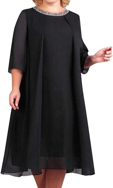 Geilisungren Faldas Corta Mujer Fiesta Elegante, Cuello Redondo ...